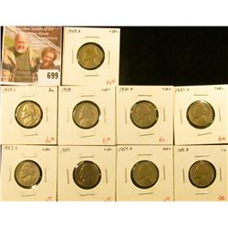 (9) Jefferson Nickels, 1949-D, 1950, 1950-D (key date!), 1951-S, 1953-S, 1954, 1954-D, all circulate