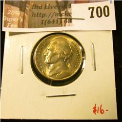 1950-D Jefferson Nickel, BU toned, value $16