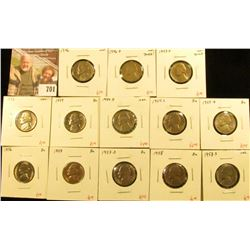 (13) Jefferson Nickels, 1946, 1946-D, 1947-D, 1953, 1954, 1954-D, 1954-S, 1955-D, 1956, 1957, 1957-D