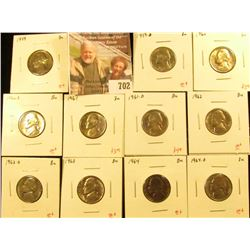 (11) Jefferson Nickels, 1959PD, 1960PD, 1961PD, 1962PD, 1963, 1964PD, all BU, nice BU group for an a