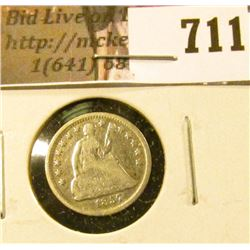 1857 Seated Liberty Half Dime, VG, value $22