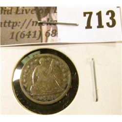 1858-O Seated Liberty Half Dime, G+, value $18