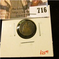 1862 Seated Liberty Half Dime, G, value $25