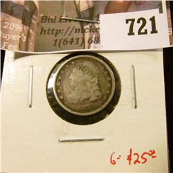 1835 Bust Dime, G obverse, AG reverse, G value $25