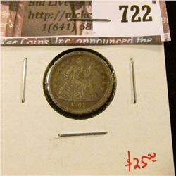 1841-O Seated Liberty Dime, G, value $25