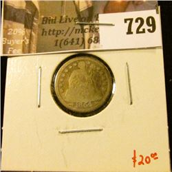 1854-O arrows Seated Liberty Dime, G, value $20