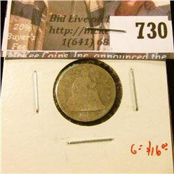 1856 Seated Liberty Dime, small date, AG, G value $16
