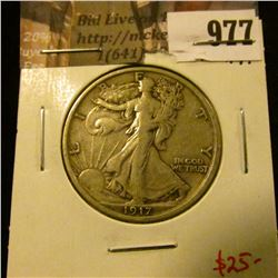 977 . 1917 Walking Liberty Half Dollar, VF30, sharp details, value