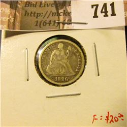 1886 Seated Liberty Dime, VG/F, F value $20