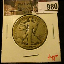 980 . 1921-S Walking Liberty Half Dollar, G+, value $48