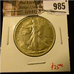 985 . 1935 Walking Liberty Half Dollar, AU, value $25