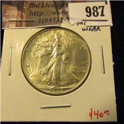 987 . 1937 Walking Liberty Half Dollar, AU58, minimal wear, SHARP,