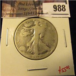 988 . 1938-D Walking Liberty Half Dollar, G, key date, value $55