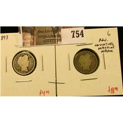 (2) Barber Dimes, 1897 G, 1897-S G with reverse counting machine mark, value for pair $22