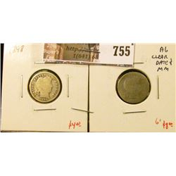 (2) Barber Dimes, 1898 G, 1898-S AG, clear date & mintmark, G value for pair $12