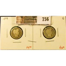 (2) Barber Dimes, 1899 & 1899-O, both G, value for pair $14