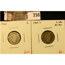 (2) Barber Dimes, 1900 G, 1900-S G obverse, AG reverse, G value for pair $9
