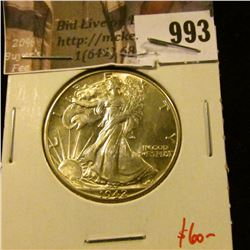 993 . 1942 Walking Liberty Half Dollar, BU MS63+, value $60+
