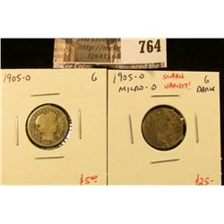 (2) Barber Dimes, 1905-O & 1905-O micro O (scarce variety!), both G, value for pair $30