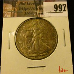 997 . 1946 Walking Liberty Half Dollar, AU, value $20
