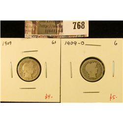 (2) Barber Dimes, 1909 & 1909-O, both G, value for pair $9