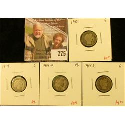 (4) Barber Dimes, 1913 G, 1914 G, 1914-D VG, 1914-S G, group value $17