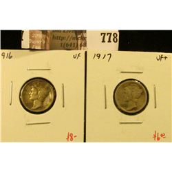(2) Mercury Dimes, 1916 & 1917, both VF, value for pair $14