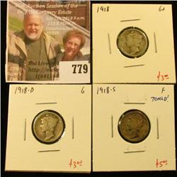 (3) Mercury Dimes, 1918 G, 1918-D G, 1918-S F toned, group value $11