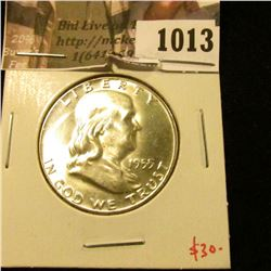 1013 . 1955 Franklin Half Dollar, BU MS63+, value $30