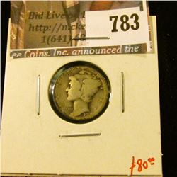 1921-D Mercury Dime, G, key date! value $80