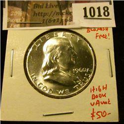 1018 . 1960 Franklin Half Dollar, BU MS65+, blast white blemish fre