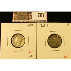 (2) Mercury Dimes, 1927 VF, 1927-S F, value for pair $11