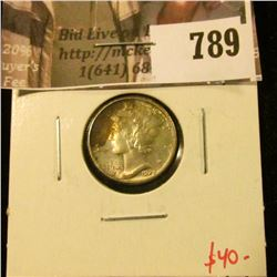 1929 Mercury Dime, BU MS63+ toned, value $40
