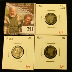 (3) Mercury Dimes, 1931PDS (all 3 mints for year), all VG, group value $17