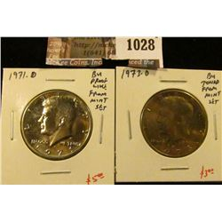 1028 . (2) Kennedy Half Dollars, 1971-D, BU proof-like from Mint Se