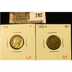 (2) Mercury Dimes, 1934 F, 1934-D VG+, value for pair $5+