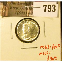 1935 Mercury Dime, BU MS65+, MS63 value $50, MS65 value $90