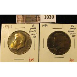 1030 . (2) Kennedy Half Dollars, 1976-D & 1979, both BU toned from