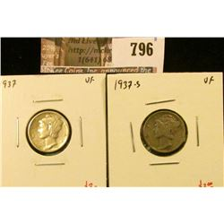 (2) Mercury Dimes, 1937 & 1937-S, both VF, value for pair $6