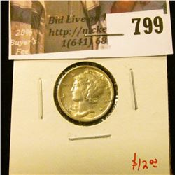 1939-D Mercury Dime, BU, value $12