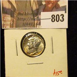 1941 Mercury Dime, BU toned, value $15