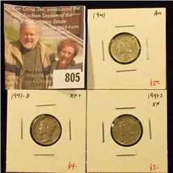(3) Mercury Dimes, 1941 AU, 1941-D XF+, 1941-S XF, group value $12