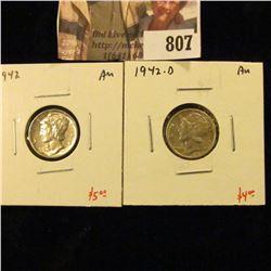 (2) Mercury Dimes, 1942 AU, 1942-D AU, value for pair $9