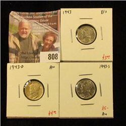 (3) Mercury Dimes, 1943 XF+, 1943-D AU, 1943-S AU, group value $12