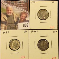 (3) Mercury Dimes, 1944 VF, 1944-D AU, 1944-S, XF+, group value $11+