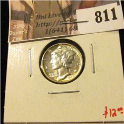 1942 Mercury Dime, BU MS63+, value $12