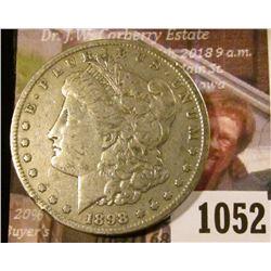 1052 . 1898-S Morgan Silver Dollar, VF/XF, VF value $40, XF value $