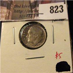 1959 Roosevelt Dime, BU toned, value $5