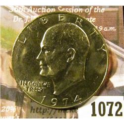 1072 . 1974 Eisenhower Dollar, BU toned from a Mint Set, MS63 value