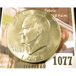 1077 . 1978-D Eisenhower Dollar, BU from a Mint Set, MS63 value $6,